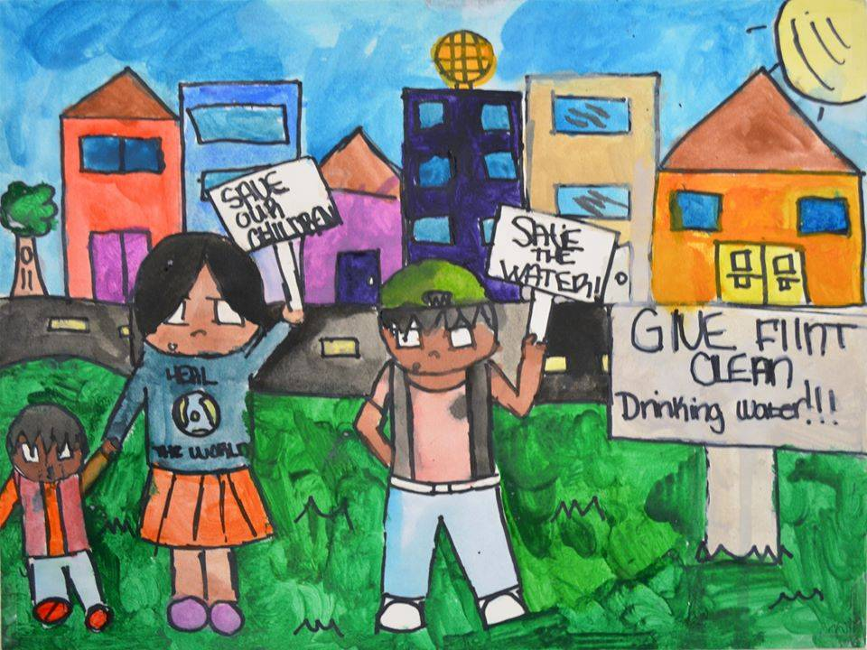 Drawing created by 8th grader, Kaniyah W., at Linden Charter School in Flint, Michigan in response to the Flint water crisis.